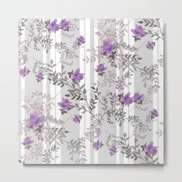 Lilac roses on a gray striped background. Metal Print
