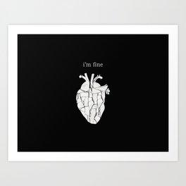 Broken Love (Black Background) Art Print