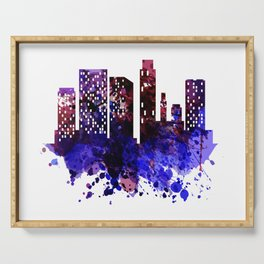 Colorful silhouette of the city Serving Tray