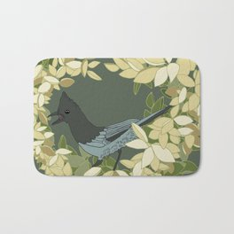 Stellar's Jay and Botanical Illustration Art Series Bath Mat
