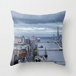 Samuel Beckett bridge aerial view Throw Pillow