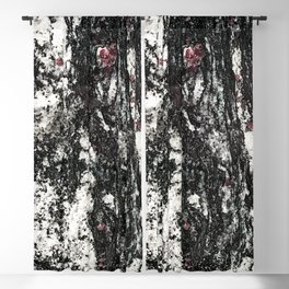 Black Web Dripping // Red Speckled Granite Stone Texture Blackout Curtain