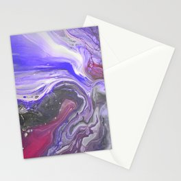 Pipe Down -  Purple Fluid Liquid Painting Pink Grey Swirls Marble Stationery Cards