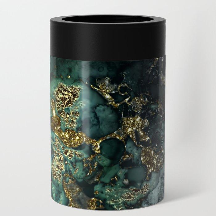Gold Indigo Malachite Marble Can Cooler