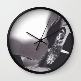 Realism Drawing of Sexy Tattooed Woman Wall Clock