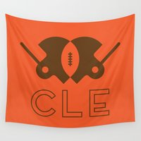 football Wall Tapestries featuring Cleveland Football by John Trivelli