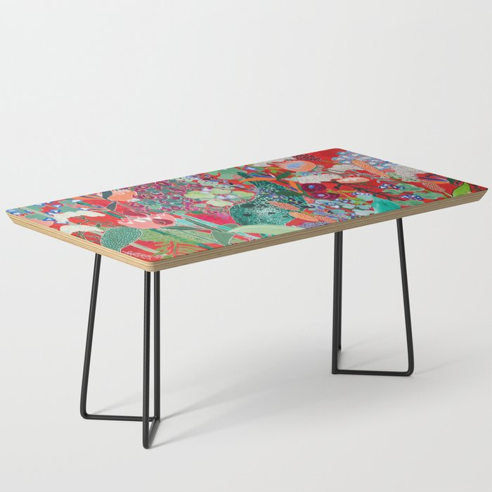 Red floral Jungle Garden Botanical featuring Proteas, Reeds, Eucalyptus, Ferns and Birds of Paradise Coffee Table