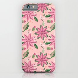 Christmas collection-Poinsettia & Snowberry  rose & coral wrapping paper iPhone Case