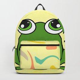 Cute frog looking up Backpack