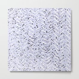 Herringbone Splatter Pattern in Light Blue Purple Metal Print