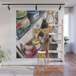 watercolor fridge still life Wall Mural