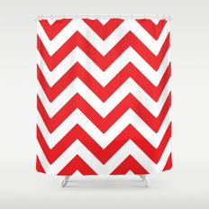 Large chevron pattern / red Shower Curtain