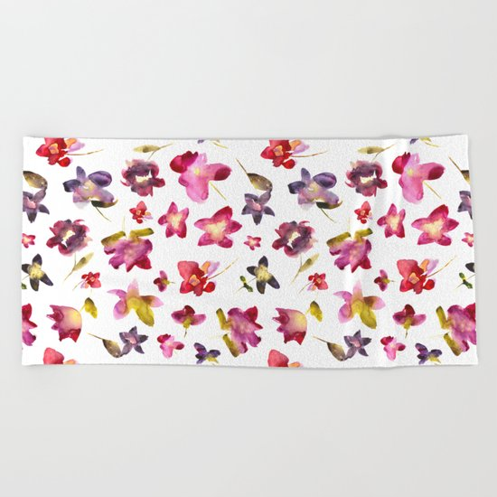 Floral vibes in watercolor Beach Towel