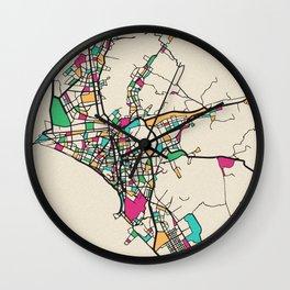 Colorful City Maps: Lima, Peru Wall Clock