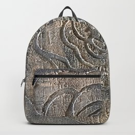 Novato Grey Tone Flower Painting Backpack