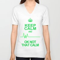 keep calm V-neck T-shirts featuring Keep Calm by Alice Gosling