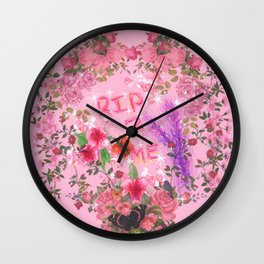RIP 2 ME - Glitchy Floral Wreath Drawing Wall Clock