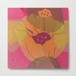 Colourful pink, yellow, orange poppies in transparent layers. Metal Print