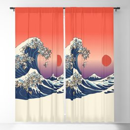 The Great Wave of English Bulldog Blackout Curtain