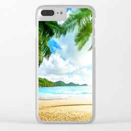 Chill Tropical Beach XVIV Clear iPhone Case