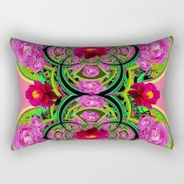 PINK PEONIES GREEN ABSTRACT GARDEN ART Rectangular Pillow