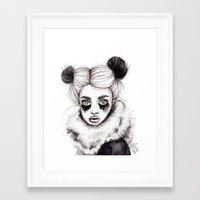 red panda Framed Art Prints featuring Panda by Nora Bisi