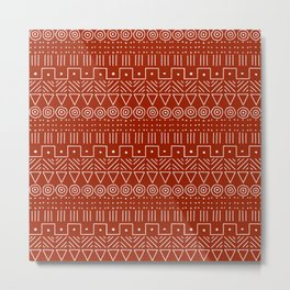 Mudcloth Style 1 in White on Red Metal Print