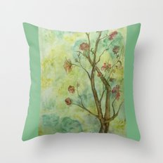 Branch with flowers Throw Pillow