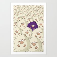 Sheep Pattern | Purple Art Print
