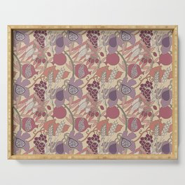 Seven Species Botanical Fruit and Grain in Mauve Tones Serving Tray