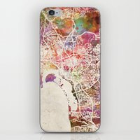 san diego iPhone & iPod Skins featuring San Diego by MapMapMaps.Watercolors
