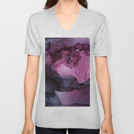 Abstract Ink Painting Ethereal Flowing Watercolor Nebula Unisex V-Neck