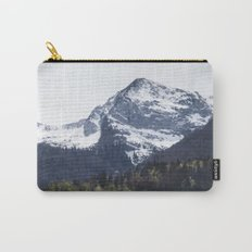 Winter and Spring - green trees and snowy mountains Carry-All Pouch