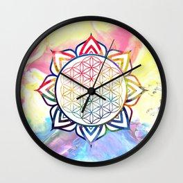 Rainbow Lotus Flower of Life Mandala Wall Clock