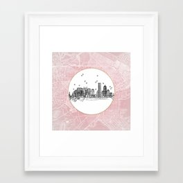 Boston, Massachusetts City Skyline Illustration Drawing Framed Art Print