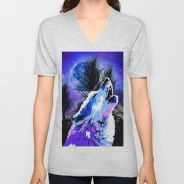 NEBULA WOLF MOON TREE MOUNTAIN SPARKLE Unisex V-Neck