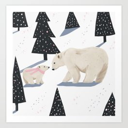 Polar Bear Christmas Art Print