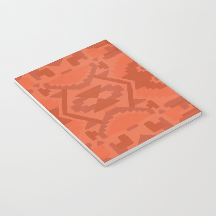 Geometric Aztec in Chile Red Notebook