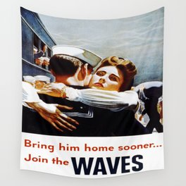 Vintage poster - Waves Wall Tapestry