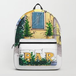 Bar Cafe Caffe in Trastevere in Rome hand-painted watercolor sketch Backpack