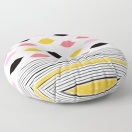 Kisses & Stripes hot summer edition - black, white, gold and pink pattern in vintage Style Floor Pillow