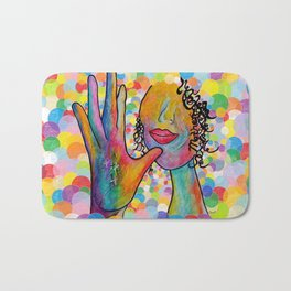 ASL for MOTHER on a Bright Bubble Background Bath Mat