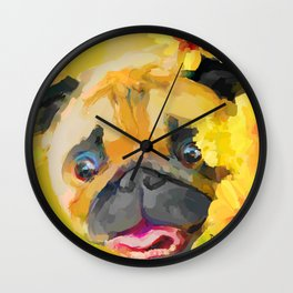 Pug in Daisies Wall Clock