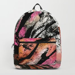 Motivation: a colorful, vibrant abstract piece in pink red, gold, black and white Backpack