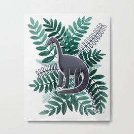 Dinosaur & Leaves - Teal Metal Print