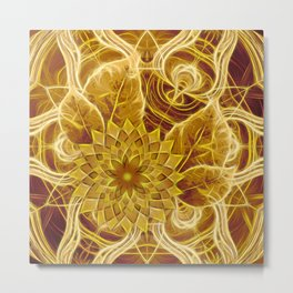 Mysterious glowing kaleidoscope and flower Metal Print