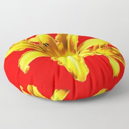 Yellow Day Lilies on Chinese Red  Floor Pillow