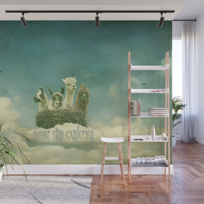 ALPACAS EXPLORING (THE CLOUDS) Wall Mural