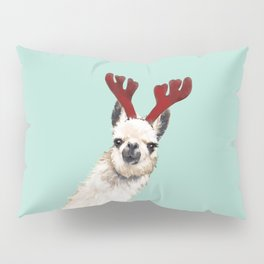 Llama Reindeer in Green Pillow Sham