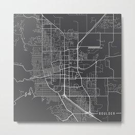 Boulder Map, USA - Gray Metal Print